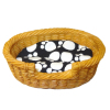 Oval Wicker Dog Cat Pet Sleeping Basket Bed