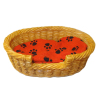 og Cat Pet Sleeping Basket Bed Faux Wicker Paw Prints Red