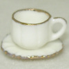 Gold Rimmed Porcelain Coffee or Tea Cup and Saucer