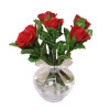 Handcrafted Red Roses in Glass Vase with Water