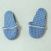 Blue Check Fabric Unisex Slippers