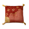 Exotic Asian Cat Floor Pillow Red Pattern with Gold Tassels