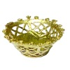 Lacy Golden Metal Reticulated Fruit Bowl