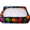 Colorful Paws Pet Bed with Soft Fuzzy Cushion