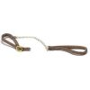 Brown Leather Dog Pet Leash and Collar