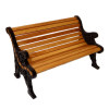 Dollhouse Wood Park Bench with Fanciful Black Wrought Iron Sides