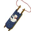 Handcrafted Blue Sled with Handpainted Bear Picture