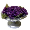 Artisan Crafted Silver Metal Bowl of Purple Grapes