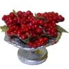 Artisan Crafted Silver Metal Bowl of Red Grapes