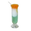 Tall Handcrafted Green White and Orange Tropical Cocktail