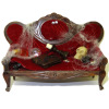 Haunted Halloween Victorian Red Velvet Sofa
