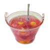 Handcrafted Filled Glass Punch Bowl of Iced Pink Lemonade