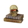 Halloween Skull With Pulsating Red Eyes On Books - Battery Op