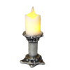 Artisan Short Flickering Candle on Large Silver Base -Battery