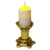 Artisan Short Flickering Candle on Medium Gold Base -Battery