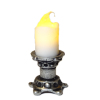 Artisan Flickering Candle on Silver Candleholder SM -Battery