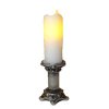 Artisan Flickering Candle on Tall Silver Candleholder -Battery