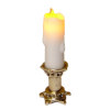 Artisan Flickering Candle on Medium Golden Candleholder -Battery