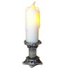 Flickering Artisan Lighting Candle Medium Silver Base - Battery