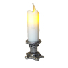 Artisan Flickering Candle on Short Silver Candleholder -Battery