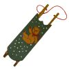 Handcrafted Green Sled with Handpainted Bear Picture