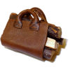 Hand Crafted Filled Leather Log Carrier by All Through The House