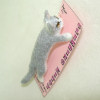 Alice Zinn Handcrafted Realistic Climbing Gray and White Cat