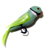 Alice Zinn Handcrafted Ringneck Parakeet Pet Bird with Perch