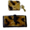 Alice Zinn Leopard Print Faux Fur Ladies Clutch and Key Case Set