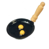 Eggs In Metal Frying Pan with Turned Wood Handle