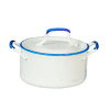 White Metal Pot With Handles and Blue Trim