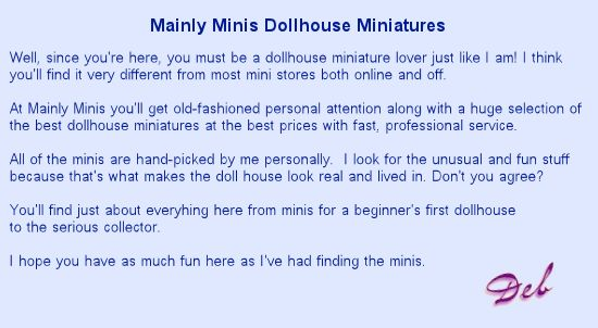 Welcome to Mainly Minis