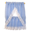 Hand Crafted Blue Gingham Check Tier Kitchen Curtains