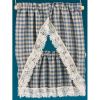 Hand Crafted Country Blue Gingham Check Tier Kitchen Curtains