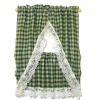 Hand Crafted Green Gingham Check Tier Kitchen Curtains