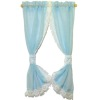 Handcrafted Lace Trim Sheer Blue Ruffled Tie Back Curtains
