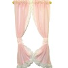Handcrafted Lace Trim Sheer Pink Ruffled Tie Back Curtains