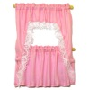 Handcrafted Lace Trim Pink Ruffled Demi Cape Curtain Set
