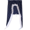 Navy Blue Curtain With Hearts and Attached Shade