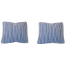 Pair of Blue Ribbed Pillows