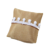 Gold Christmas Pillow With White Pom Poms