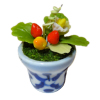 Handcrafted Strawberry Plant in Glazed Pot