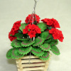 Handcrafted Red Geraniums in Hanging Wood Planter