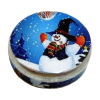 Opening Snowman Christmas Cookie Candy Tin