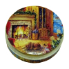 Cozy Fireplace Scene Christmas Tin