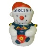 Opening Ceramic Christmas Snowman Cookie Jar