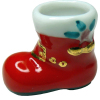 Handpainted Ceramic Santa Boot Christmas Planter or Vase