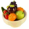 Handcrafted Fruit in Ceramic Bowl with Tropical Mangosteen