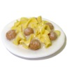 Handcrafted Swedish Meatballs and Noodles on Ceramic Plate