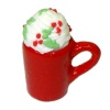 Christmas Hot Chocolate with Whipped Cream In Red Mug
